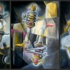Wandmalerei Traunstein, kubistische Wandmalerei, gemalte Motoren