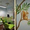 Wandmalerei mit Tieren, Wandmalerei Traunstein, Praxismalerei, Wandbild in Praxis für Kinder