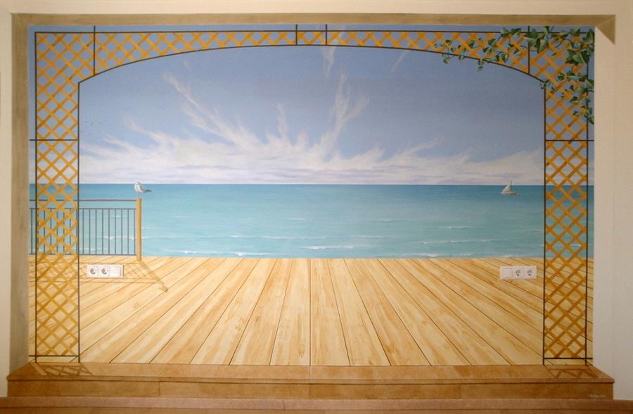 Wandmalerei mit Blick aufs Meer