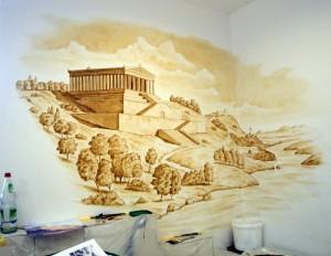 Arbeit an Wandmalerei