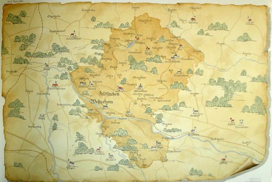 Karte gemalt an der Wand