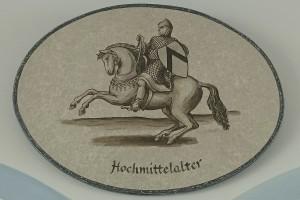 gemalte Bildtafel Reiter